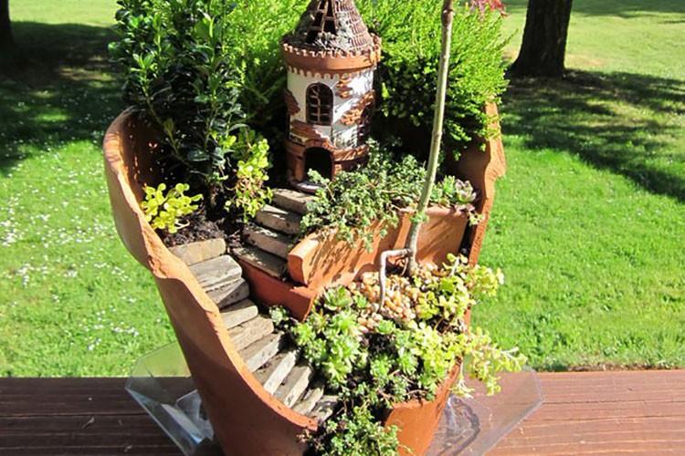割れた植木鉢を再利用するDIY