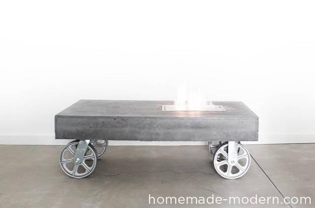 バイオエタノール暖炉でファイヤーテーブルを自作