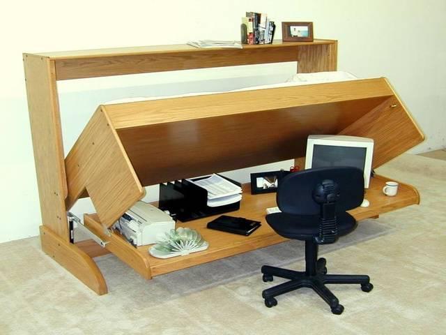 狭いスペースを有効活用♪寝室ベッド+書斎(作業場所)一体型家具をご紹介