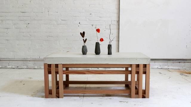 セメントと木材でシンプルなミニテーブルをDIY!