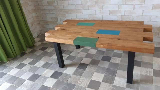 【迫力満点】厚さ3.5cmの杉材を使ったアンティークローテーブル