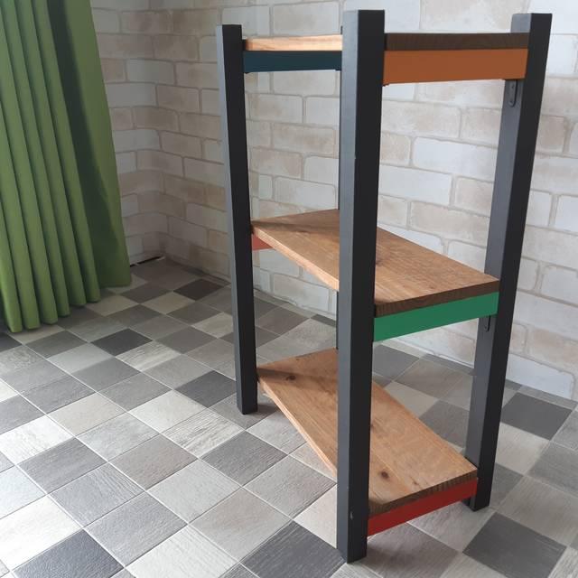 【インテリア家具】カラフルアンティーク3段棚