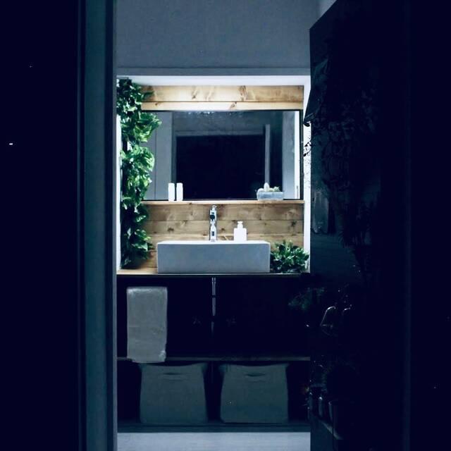 朝が楽しみになる!グリーンの映える自然派な洗面台をDIY