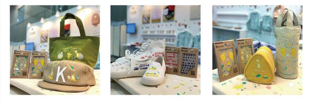irodoでデコレーションした靴やランチバックの写真