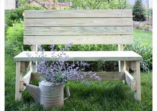 シンプルな背もたれ付きベンチ